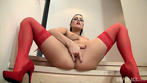 Solo lingerie masturbation with high heels Mia Melone
