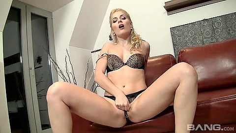 Lecherous bras and panties self fucking slut Sweet Cat