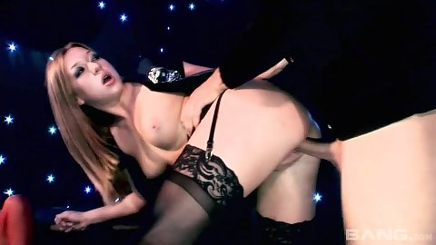 Satisfying doggy lingerie penetration with smiling Delta White and Gabriela Glazer