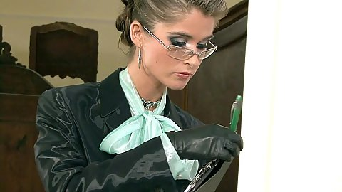 Eager babe in glasses Nessa Devil getting oiled up and messy