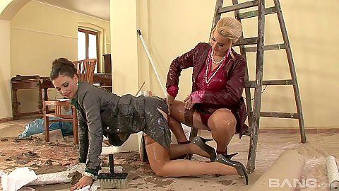 Lesbian messy and oil half dressed fingering Esmeralda and Jessica Fiorentino