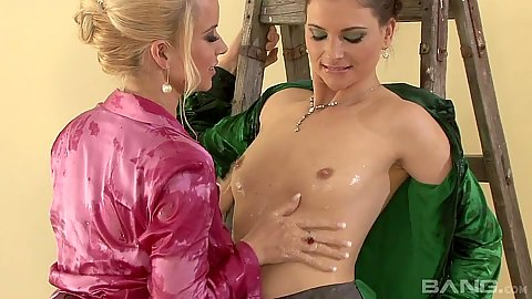 Small tits undressing and messy oiled up clothes chicks Jessica Fiorentino and Esmeralda