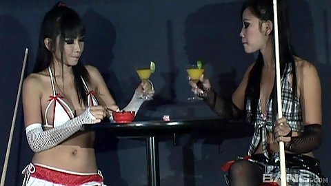 Mintra and Sherri skinny lingerie pool playing asian dolls
