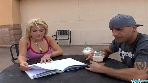 Blonde college girl Charlie Lynn needs some coffee