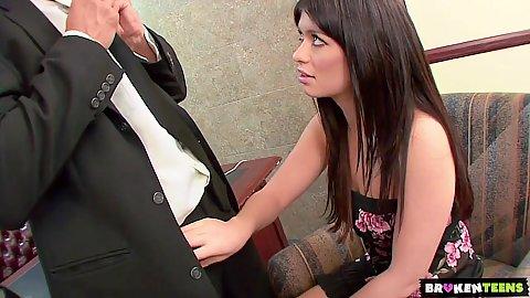 Brunette skinny Ashlyn Rae needs to save her job by sleeping with man boss