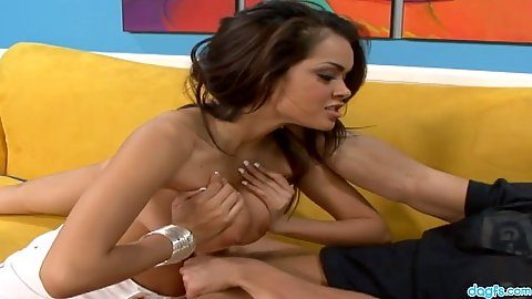 Lovely latina milf titty fucking and eating on sofa Daisy Marie