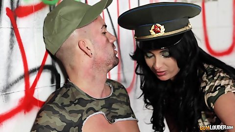 Army uniform seduction with skinny kissing babe Anissa Kate