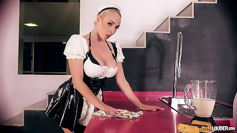 Breathtaking busty maid Victoria Summers looking sexy in her costume