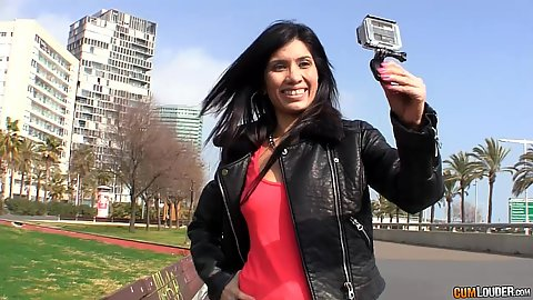 Eva Reina doing some selfies with a go pro on the public streets