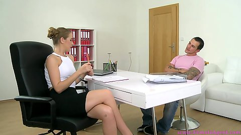 Office interview with female agent Alexis Emilia for a man