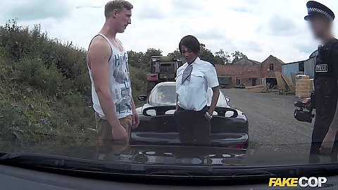 Police officer stop and threesome fuck with Kiki
