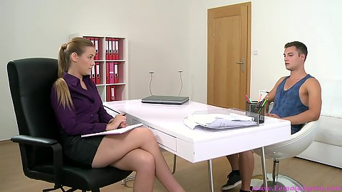 Female agent fully clothed interview with Alexis Emilia talking to a man