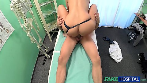 Obsessed horny camera nurse just plain fucks patient Mea on exam bed