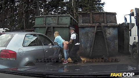 Horny cop took Xena to the back of the dumpster to fuck in public