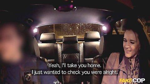 Fully clothed Carmel hidden camera cop car driving