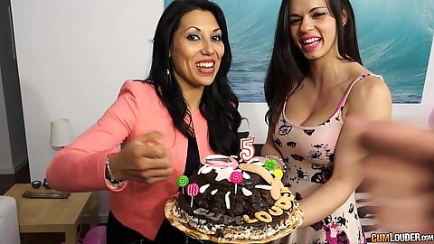 Bday cake with Nekane stripping naked to get laid in front of guests