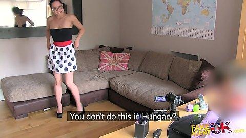 Audition office with stripping and masturbating solo Dolly from Hungary