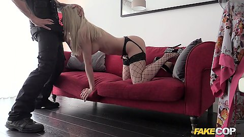 Blonde fishnet fucking and giving a police officer head Tamara