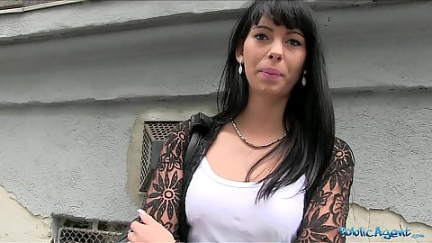 Raven hair a bit shy public babe picked up on stret for money
