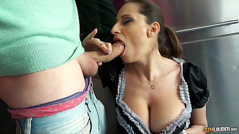 Eager cock sucking latina maid Sensual Jane in uniform doing titty fuck in kitchen as well