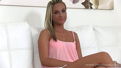 Spicy audition babe Caitlin slowly stripping for some extra cash