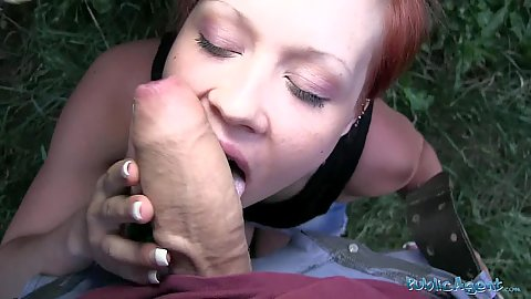 Horny redhead slut sucks off a big dick in public pov