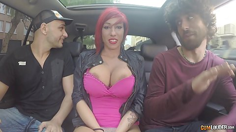 Busty group going for drive with giant Suhaila Hard