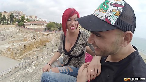 Giant tits cleavage outdoors at the ruins with Suhaila Hard