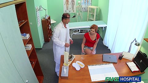 Sexy redhead comes to get a doctors note to get off office