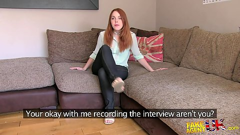 Agent interview with auditioning redhead Amarna a petite spanish chick