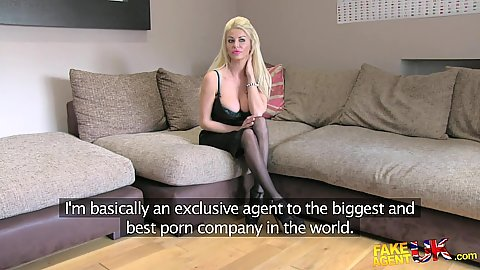Stocking busty lingerie Tia visiting casting office to get a part
