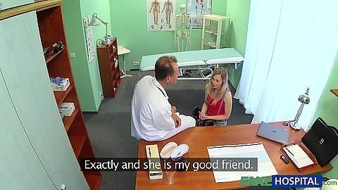 Doctors office with blonde slim chick getting touched