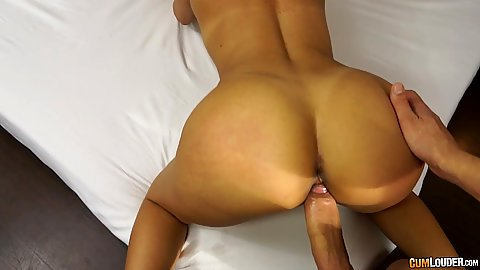 Attractive ass pov doggy style sex on bed with Elisa Love