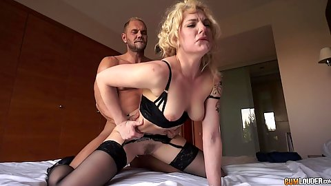 Bras and panties sensual doggy fuck with moaning blonde Dahlia Sky