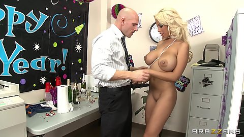 Busty chick getting on knees behind the cubicle wall