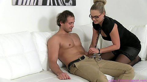 Female agent Barra Kristine undressing man with her milf pussy