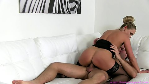 Milf female agent Barra Kristine fucks male casting model