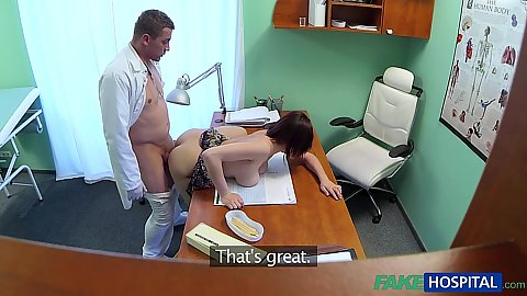 Horny male doctor ramming this busty female on his work desk