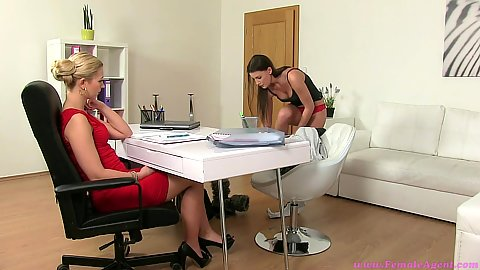 Undressing lesbian audition seduction with Tracy and Ennie