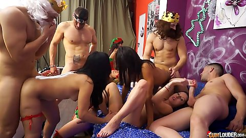 Coral Joice and Suhaila Hard with Valentina Sweet having great xmas party group sex