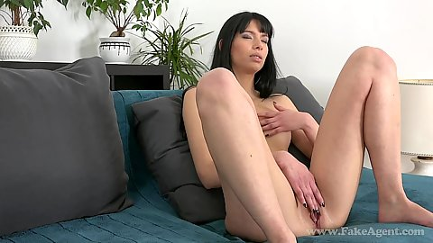 Kitty touching her pussy during audition and acting all shy