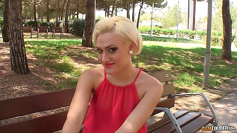 tasty blonde Brenda Starlix flashing her underwear on public park bench