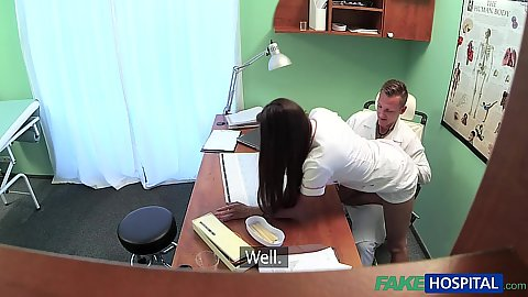Lively nurse Mea bending over for doctor