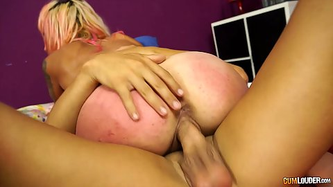 Petite lusty pink girl cock riding and sucking it Lady Pink