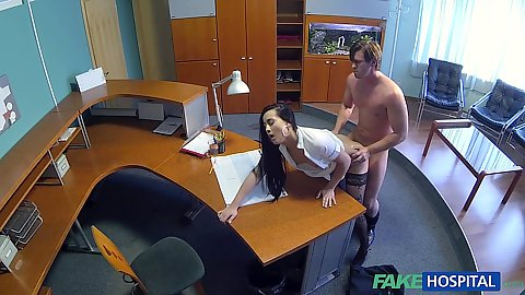 Nurse Vanessa seducing a pale hospital patient