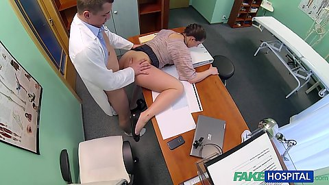 Half dressed saleswoman having intercourse with doctor Valentina Monica