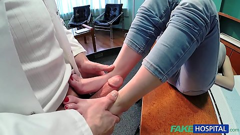 Naughty petite redhead with her sex feet