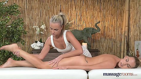 Oiling up for massage with blonde Caitlin