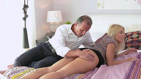 Blonde Sandra legs man roll up her skirt to finger her cunt