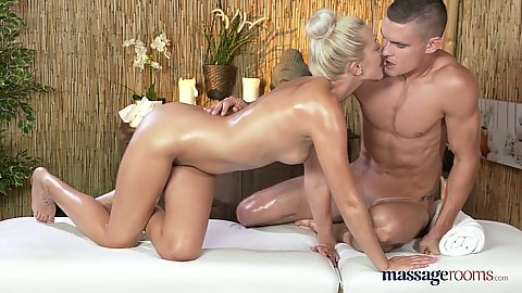 Max and Katy having oil massage fuck fest